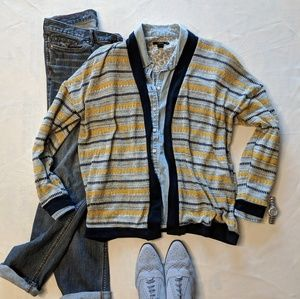 Sweaters - (3/$33 Deal) Grey Yellow Navy Open Cardigan